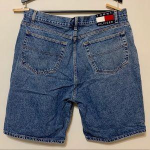 Tommy Hilfiger Shorts - Vtg Tommy Hilfiger Big Flag Spell Out Jean Shorts